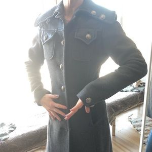 Long Grey military coat with leather patch